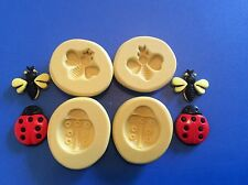 Bees and lady bugs Silicone Mold set of 4  Gumpaste Fondant polymer clay  293