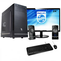 Pc desktop completo amd Ram 8Gb,Ssd 240Gb Computer ufficio,Monitor 24+accessori