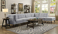 CONTEMPORARY GREY LINEN-LIKE MODULAR SOFA SECTIONAL LIVING ROOM FURNITURE SET