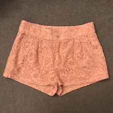 SUPER CUTE FOREVER 21 WOMEN'S PEACH PINK LACE SHORTS SIZE XS EXTRA SMALL EUC