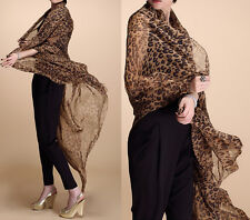 Womens Fashion Long Style Wrap Lady Shawl Leopard Chiffon Scarf Scarves Stole