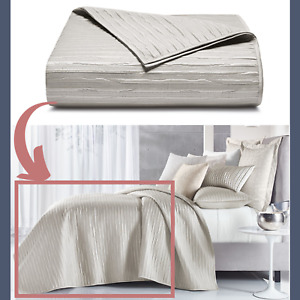 NIB $500 Hotel Collection Silverwood Full/Queen Quilted Coverlet #D128