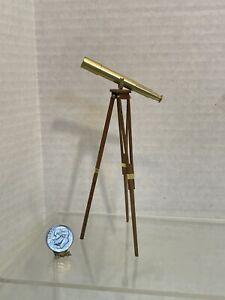 Vintage Artist DEAN JENSEN '97 Brass Telescope on Stand Dollhouse Miniature 1:12