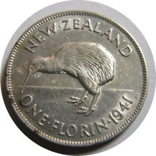 elf New Zealand 1 Florin 1941 Silver Kiwi Bird Wwii