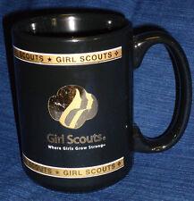 "GIRL SCOUTS Black & Gold MUG ""Where Girls Grow Strong"" M WARE"