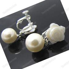 CLIP ON EARRINGS rose MOP SHELL FLOWER mother-of-pearl CREAM drop SCREW silver p