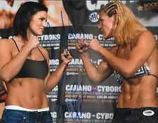 Gina Carano & Cris Cyborg Signed 11x14 Photo PSA/DNA COA StrikeForce UFC Picture