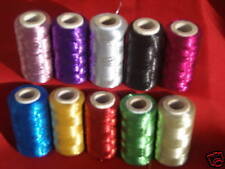 10  Metallic Thread Spools,10 different colour 400 YARDS EACH, Great Quality