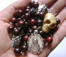 Fragrance Rare Skull Red Sandalwood Beads SEVEN SORROWS ROSARY CATHOLIC NECKLACE