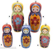 Cute Ceramic Russian Doll Pepper Or Salt Mill ~ Red ~ Purple ~ Yellow