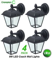 2 X 9w LED Outdoor Coach Lantern Lights Black Wall Mount Exterior Alisio CED7110