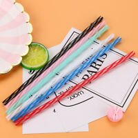 10PCS Colorful Reusable Hard Plastic Stripe Smoothie Drinking Straws Party Decor