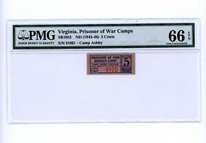 1943-46 $.05 CENTS PRISONER OF WAR CAMPS WW11 RARE VIRGINIA NOTE PMG 66 EPQ