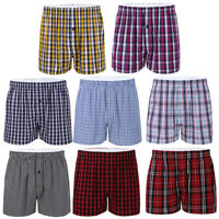 Men's Soft Cotton Plaid Woven Boxer Shorts Trunk Lounge Pajama Tartan Underwear