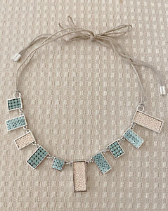 Authentic Swarovski Geometric Necklace, Cream, Mint Green crystal clusters, NWOT