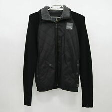 G-Star Raw Jacket Coat Mens XL Black Quilted Puffer Grizzly Vest Knit Sleeves