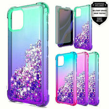 For iPhone 11 Pro Max Glitter Quicksand Two Tone TPU + Tempered Glass