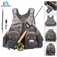Maxcatch Fly Fishing Vest Adjustable Mesh Vest,Magnetic Release Holder With Cord