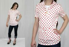 Vintage 70s Jcpenney White Red Polka Dot Belted Retro Tunic Top Shirt Blouse~S