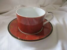 Lynn Chase Asian Views cup & saucer set designer hand signed red black gold