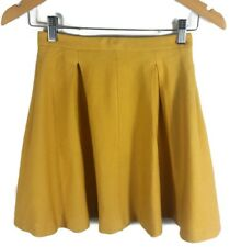 GLASSONS Mini Skirt - Mustard Yellow Vintage Retro Boho Style Pleated Stretch- 6