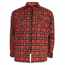Mens Padded Lumberjack Shirt Quilted Flannel Work Wear Zip Button Hoodie Jacket