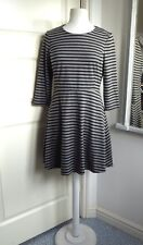 OLIVER BONAS Jersey Dress with Sleeves Striped Grey Skater 12