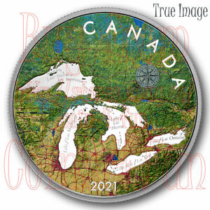 """2021 - Great Lakes - $50 5 OZ Pure Silver Proof """"Map"""" Coin - Canada"""