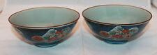 Japanese Arita Yaki Set of 2 Dark Blue Porcelain Rice bowls Flowers Japan