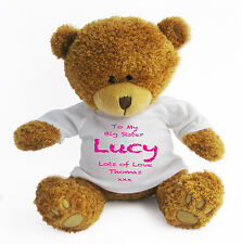 Personalised Big Sister Teddy Bear (Large) - Gift Present New Baby Pink Sibling