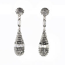 E1992 Vintage Silver Pave Crystals Upscale Best online Jewelry Drop Earrings New