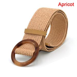 Vintage Boho Braided Waist Belt Summer Belt Round Wooden Buckle Straw Wide  C HL