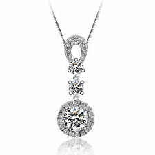 1.4 CT Diamond Necklace with S925 Sterling Silver Chain For LOVE Heart Gift-NL51