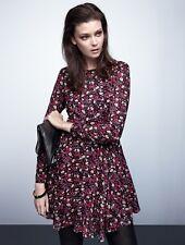 BNWT H&M Floral Pink Purple Black White Long Sleeve Dress 12 14 Medium EU 40