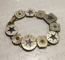 "Handmade Mixed Metal TECHNO ROMANTIC Vtg Swiss Watch Face Bracelet 7.5"" 15.8g"