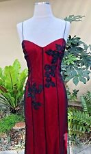 Rimini red & black satin & tulle long evening dress, size 6