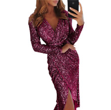 Women Sequins Shimmer Sexy Long Sleeve V-Neck Cocktail Evening Party Long Dress