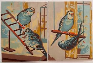 "Vintage Paint By Number Pair ""Parakeets At Play"" Two 9x12 PBNs Midcentury Budgie"