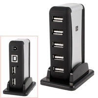 NEU 7-Port Hi-Speed USB 2.0 Hubs Kabel Adapter Netzteil +Standfuß für PC Laptop