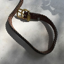 """COACH BROWN LEATHER WEAVE COLLAR for DOGS L size uo to  21"""""""