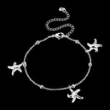 925Sterling Silver Fashion Jewelry Three Starfish Woman Anklets Bracelet AY078