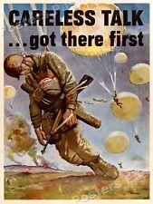 1940s Careless Talk WWII Historic Invasion War Poster - 18x24