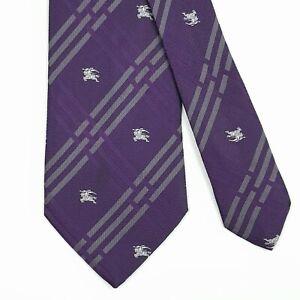BURBERRY TIE White Knight on Purple Check Classic Woven Silk Necktie
