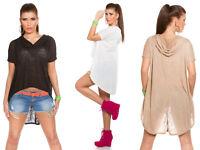 Maglia Donna con Cappuccio T-Shirt Asimmetrica Maglietta Corta Lunga Dietro
