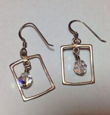 Sterling Silver Framed Aurora Borealis Crystal Earrings