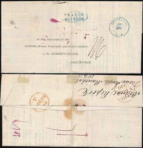 BELGIUM 1843 FRANCO OSTENDE OVAL in BLUE to SCOTLAND 26 DEC