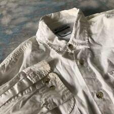 Columbia PFG L White Long Sleeve Button Down Vented Four Pocket Shirt Men