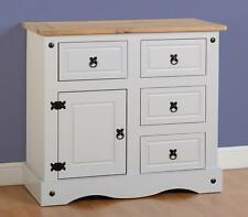 CORONA GREY AND DISTRESSED WAXED PINE 1 DOOR 4 DRAWER SIDEBOARD CHEST