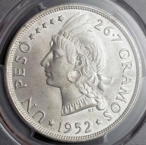 1952, Dominican Republic. Large Silver Peso Coin. Pop 1/4!  PCGS MS-66!