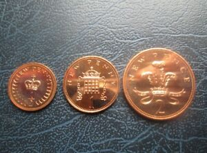 1974 PROOF 1/2p, 1p, & 2p Two Pence Coins